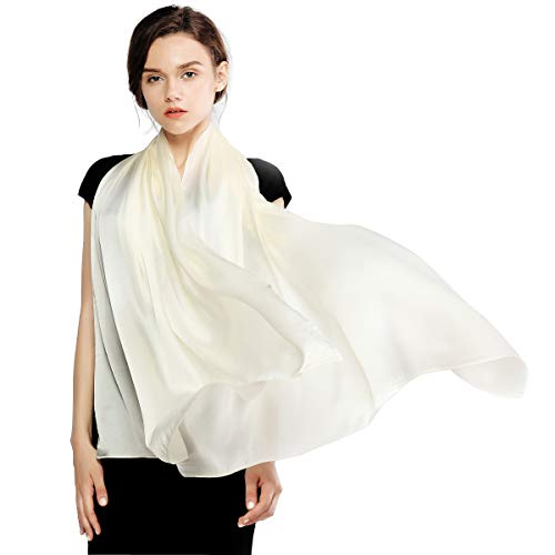 White Silk Long Scarf - Silk Scarf for Women Feeling Silk Sunscreen Long Large Lightweight Satin Shawl Wrap Headscarf