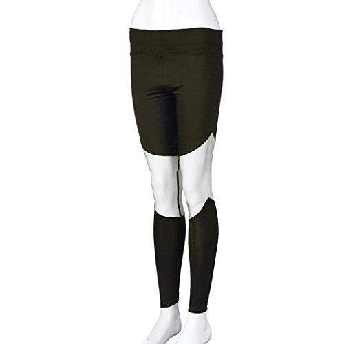 HARRYSTORE Las mujeres atractivas de mediana cintura Legging flaco malla Patchwork Push Up Yoga Pantalones ejercito verde