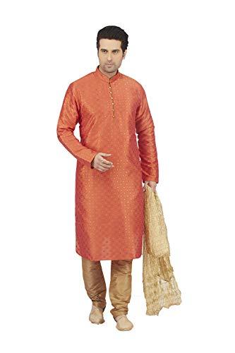 Pajama Of Party 2 Pinkcitycreations Wedding Mens Orange Dupion Wear India Kurta Set qzgzpZE