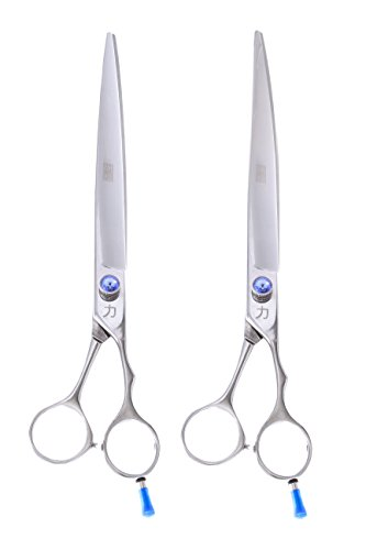 ShearsDirect Japanese 440C Stainless Steel Grooming Shears with Opposing Handles (Set of 2), 10″