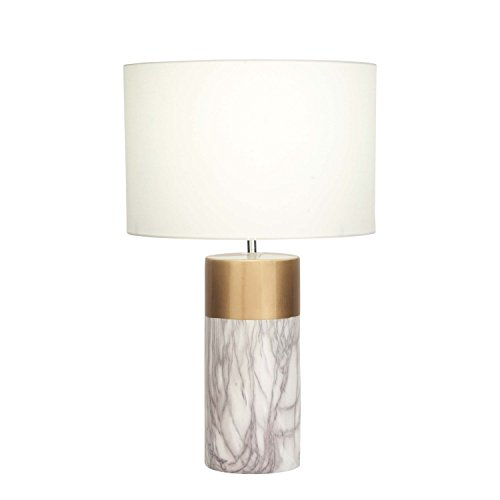 White Marble Chandelier Gold - Table Lamp 1 Light Stylish Reading Light Drum Table Lighting H 24 x L 15 x W 15 inches Reading Lamp Round Night Light Gold Marble Finish White Fabric Shade + Bonus Free eBook Lighting Trends