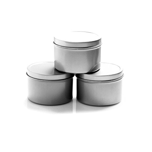 Deep Round Container (Mimi Pack 4 oz Round Tin Cans Deep Solid Top Lid Cover Steel Containers For Favors, Spices, Balms, Gels, Candles, Gifts, Storage 24 Pack (Silver))