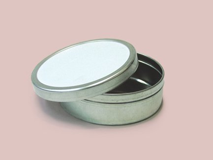 Qty. of 100 6 oz. Flat Tin Containers Body and lid assembled by Buckeye Shapeform