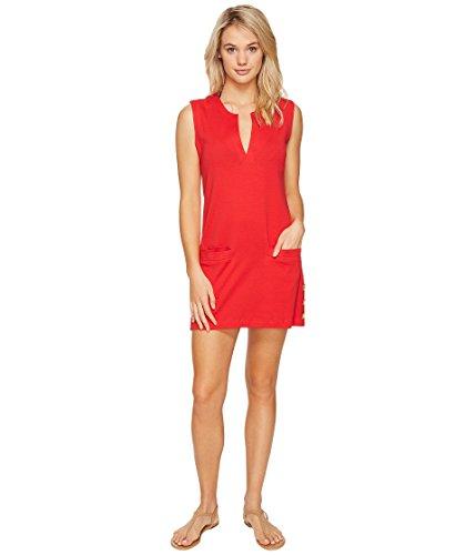 Ralph Lauren Two Button Suit (LAUREN Ralph Lauren Women's Button Tunic Cover-Up Red/Orange Swimsuit Top,Red/Orange,LG (US 12-14))