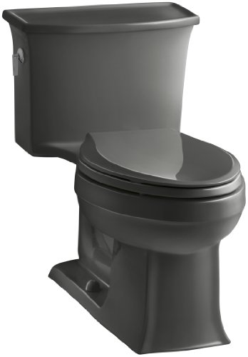 (KOHLER K-3639-58 Archer One-Piece Elongated 1.28 GPF Toilet with Aqua Piston Flush Technology and Left-Hand Trip Lever, Thunder)