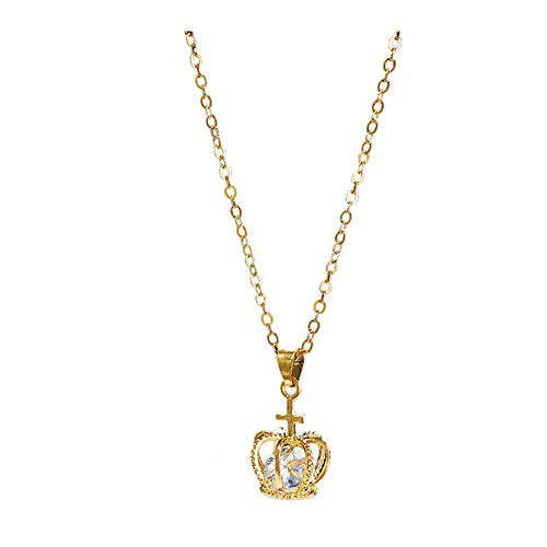 18K Gold Plated AAA Cubic Zirconia Insert Golden Cross Crown Charm Pendant Choker Necklace,Collarbone chain