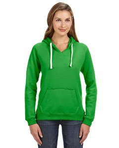 J-America Ladies' Brushed V-Neck Hooded Fleece - Lime - M