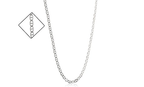 Anchor Chain Sizes - 3.5mm .925 Sterling Silver Mariner Link Anchor Chain Necklace, Sizes 16 Inch- 24 Inch (22)