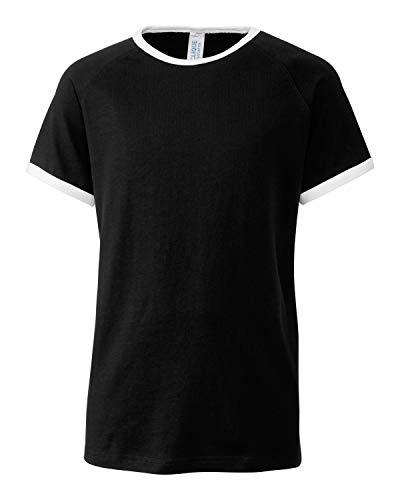 (Youth Short Sleeve 100% Cotton Jersey Playlist Ringer Tee - Unisex - Girls/Boys-Black-XS)