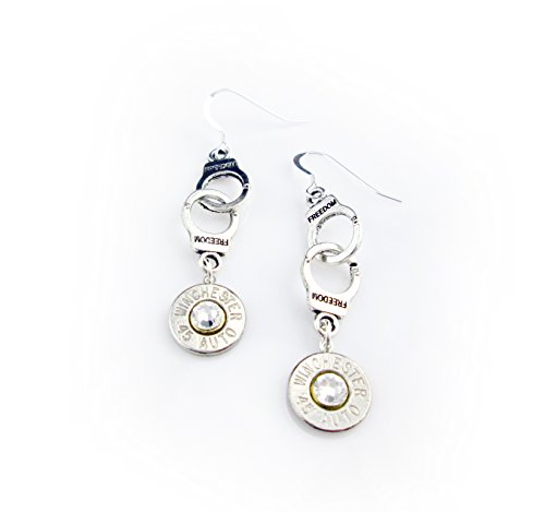 Handcuff Winchester 45 Auto Caliber Nickel Plated Brass Bullet Earrings