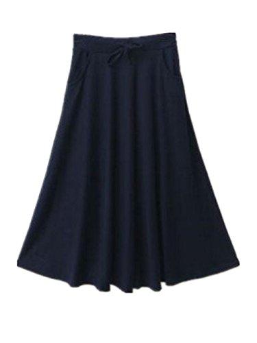 Unie Skirt Haute Blue Line Dark Couleur Femme ElGant Jupe Swing Jupe Aoliait Taille A Amincissante Femelle Jupe Longue Plisse Mi Jupe Tc7R6qB