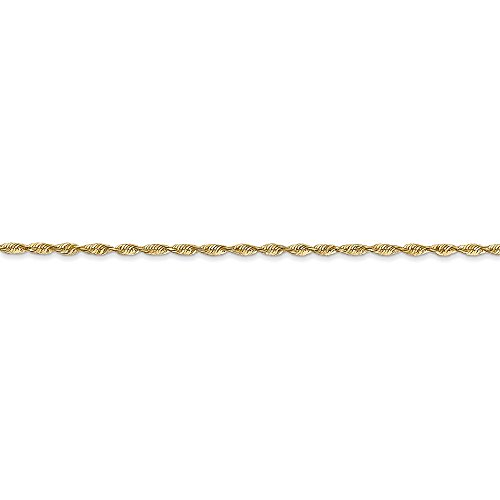 Solid 14k Yellow Gold 1.5mm Diamond-Cut Extra-Rope Chain - with Secure Lobster Lock Clasp