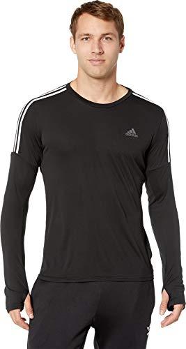 adidas 3-Stripes Long Sleeve Run Tee, Black/White, Medium
