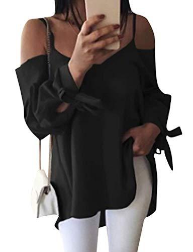 Bluse A Lunghe off Maniche Chic Shirts Rosso Estivi Donna Tendenza Puro Spaghetti Eleganti Camicetta Primaverile Ragazza Camicia Party Shoulder Colore Moda Libero Blouse Tops Tempo Xw0Rz
