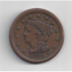 1839-1856 Braided Hair Large Cent G/VG