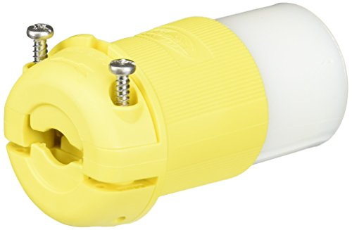 Hubbell Marine Connectors - Hubbell Wiring Systems HBL26CM13 Twist-Lock Ship-to-Shore Nylon Chem-Marine Insulgrip Connector Body for Weatherproofing, 2 Pole, 3 Wire, 30 Amps, 125V AC, Yellow