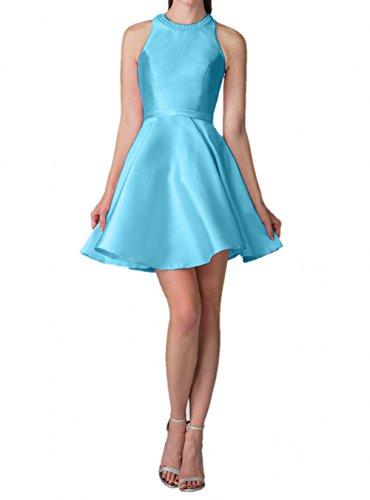 Partykleider La Mini Blau Abendkleider Hell Jugendweihe Satin Braut Kleider Kurzes Festlich mia Tanzenkleider Cocktailkleider SwtArqSZvx