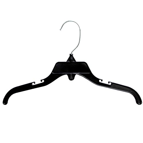 Hanger Central Recycled Black Heavy Duty Plastic Top Hangers with Polished Metal Swivel Hooks Shirt Hangers, 12 Inch, Black, 50 Pack