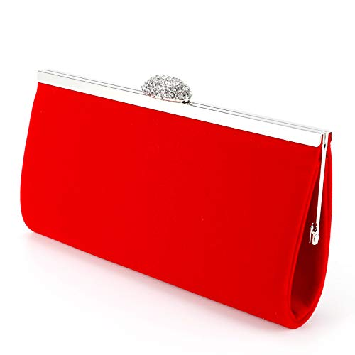Bridal Shoulder Women Clutch Purse Prom Velvet Party Evening Red Bag Faux Suede Ladies Wedding Anladia Handbag HxndCC