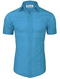 Tom's Ware Mens Casual Slim Fit Short Sleeve Button Down Shirt TWFD003-AZURE-US S