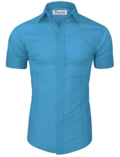 TAM WARE Men's Short Sleeve Wrinkle Free Button Down Shirt