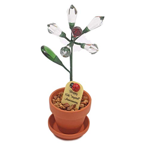 Ladybug Crystal - 15th Year Wedding Anniversary Gift, Potted Crystal Desk Rose, Perfect Present for Wife or Husband
