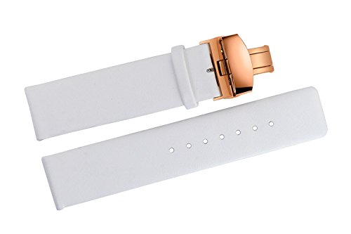 16mm-Luxury-White-Matte-Leather-Watch-Straps-Replacements-Thin-Smooth-for-Womens-High-end-Wristwatches-with-Rose-Gold-Deployant-Butterfly-Clasp-Buckle