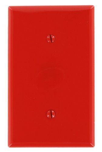 Nylon Red Blank - Leviton 80719-R 1-Gang No Device Blank Wallplate, Standard Size, Strap mount, Red
