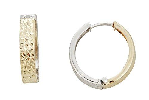 Reversible Huggie Earrings (14K Two-Tone Gold Reversible Diamond Cut 4x20mm Huggie)