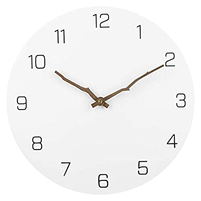 Ryuan Wooden Wall Clock Silent Non-Ticking Quartz Decorative Simple Round Wall Clocks Battery Operated Easy to Read for Home Office (Bough Hands) - Material - Wooden MDF (white) background with Brown Bough Hands pointers easy to read,no frame nor glass cover,the clock is non-toxic and resistant to moisture and has excellent color-fastness. Silent Quartz Movement - No noise when the pointer moves, Quartz Movement makes no ticking sound, which ensures you a good sleeping or working environment. Minimalist Wall Clock - No second hand, simple and elegant.Simple and Modern Design will look beautiful in any room. It will match all of your décor in your home and office. - wall-clocks, living-room-decor, living-room - 31EvhhmNzzL. SS400  -