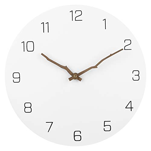 Ryuan Wooden Wall Clock Silent Non-Ticking Quartz Decorative Simple Round Wall Clocks Battery Operated Easy to Read for Home Office (Bough -