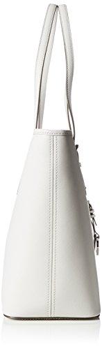 Michael Kors Jet Set Zip Top Multifuncional De Aluminio Bolsa De Cuero Gris (Aluminum)
