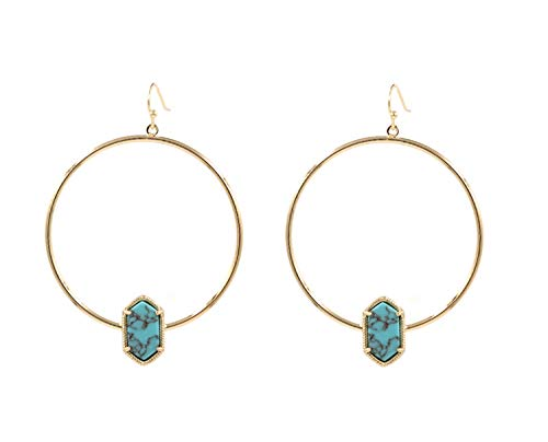 (Gold Color Big Round Dangle Earring Alloy Circle Small Oval Druzy Drop Earrings for Women Earrings Fashion Jewelry Turquoise )