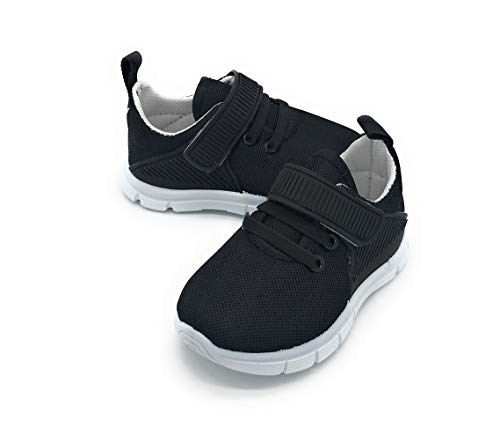 Blue Berry Baby's Boy's Girl's Casual Light Weight Breathable Strap Sneakers Running Shoe (8 M US Toddler, 826black)]()