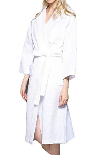 Les Femmes Domple Plus La Taille, Plus La Taille De Coton De Grande Taille Été Nightwear Robe De Ceinture De Couleur Unie Blanc