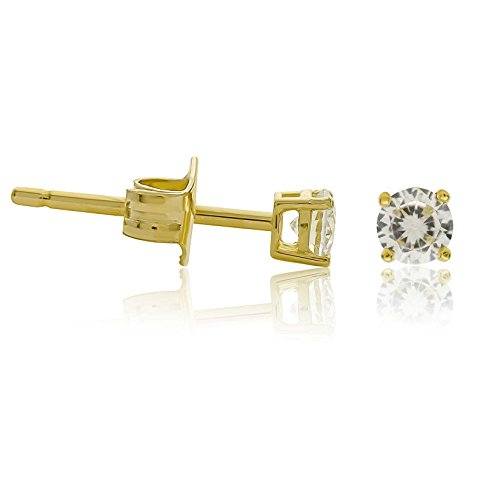 Kezef Creations 14K Gold Plated Sterling Silver CZ Stud Earrings with 3mm Round White Cubic Zirconia Gems (14k Cubic Zirconium Ring)