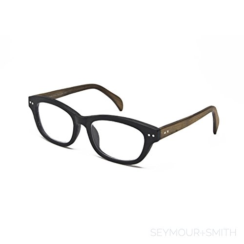 Seymour and Smith Stanley Spruce Reading Glasses For Men and Women (Black Charcoal with Natural Temples, - Small Faces For Eyewear