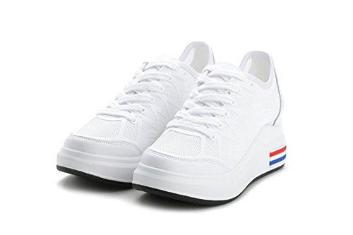 Libre Caminar Zapatos DANDANJIE para Blanco al Antideslizantes Ocultos Zapatillas para Casual Aire Mujer Blancas Zapatillas Transpirables 00PTqB6w