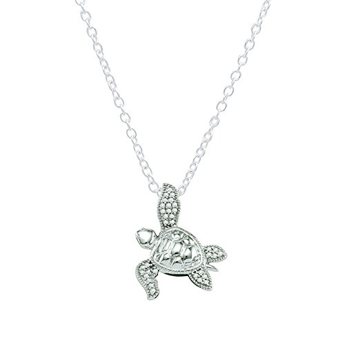 Dazzlingrock Collection 0.12 Carat (ctw) 10K Round Diamond Ladies Sea Turtle Pendant (Silver Chain Included), White Gold