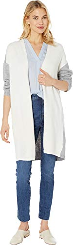 (Vince Camuto Womens Long Sleeve Color Block Cardigan Antique White MD)