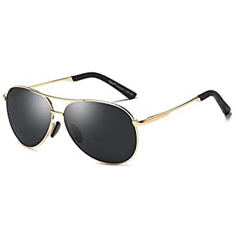 Cyxus Aviator Polarized lens Classic Fashion Spring Hinges Sunglasses 100% UV Protection Mirrored Flat Lens Sun Glasses Black Lenses Gold Frame