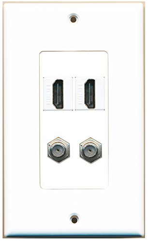 RiteAV - 2 Port HDMI 2 Port Coax Cable TV- F-Type Decorative Wall Plate - White