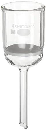 Chemglass CG-1402-15 Glass Buchner Filtering Funnel with Medium Frit, 60mL Capacity, 10mm OD x 75mm Length Stem, 40mm Diameter