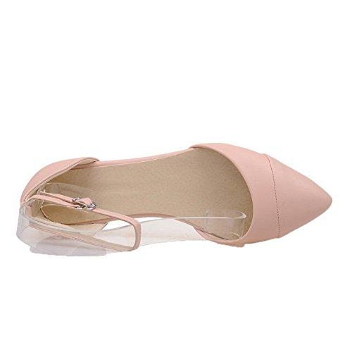 AalarDom Mujer Hebilla Puntera Cerrada Mini Tacón Pu Sólido Sandalias de vestir Rosa(1cm)