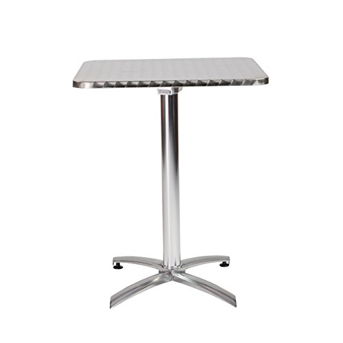 Eurø Style Arden SquareTextured Stainless Top Indoor/Outdoor Foldable Bistro Table with Aluminum Base