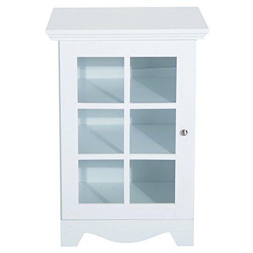 New White Wood Cabinet Storage Hutch Kitchen Bathroom Bedroom Single Glassed Door Shelves
