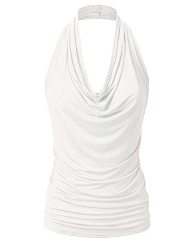 EIMIN Women's Casual Halter Neck Draped Front Sexy Backless Tank Top Ivory S Draped Open Back Cocktail