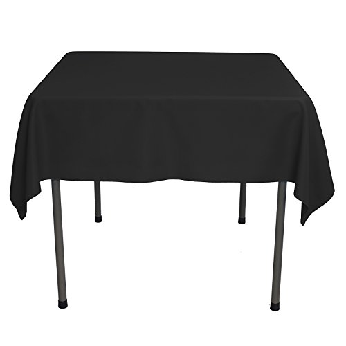 VEEYOO Square Tablecloth 54 inch - Solid Polyester Table Cover for Wedding Restaurant Party Coffee Shop Picnic, Black Table Cloth