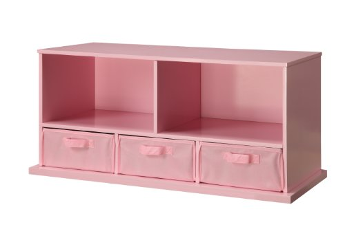 Badger Basket Shelf Storage Cubby with Three Baskets, Pink from Badger Basket