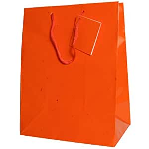 JAM Paper® Glossy Gift Bags with Rope Handles - Large Size (10 x 5 x 13 inches) - Orange - Sold Individually